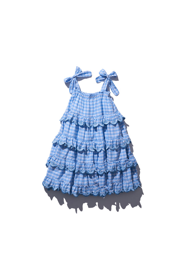 Kids Gingham Scalloped Tiered Midi - Iva Biigdres Dusk Gingham
