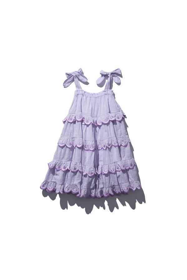 Kids Scalloped Tiered Midi - Iva Biigdres Lavender Large Check