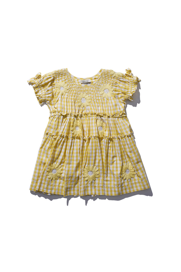 Kids Mini Smock Collar Dress - Bre Danbutta Lemon Gingham