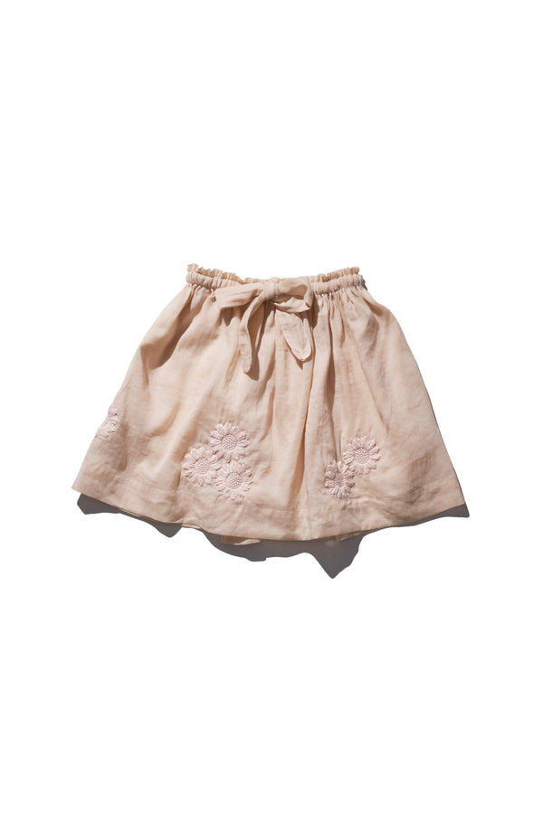 Girls Embroidered Skirt - Terri Belle in Nue Ramie