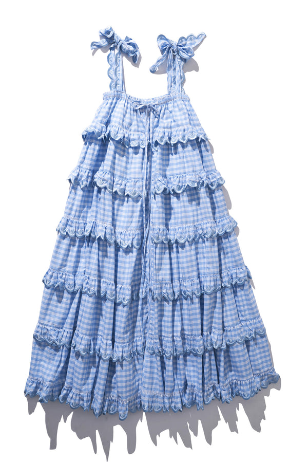 Scallop Frill Dress - Iva Biigdres Dusk Gingham  - PRE-ORDER JAN