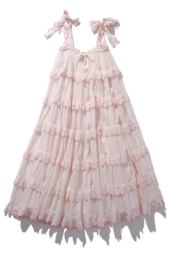 Scallop Frill Dress - Iva Biigdres Blush - Innika Choo