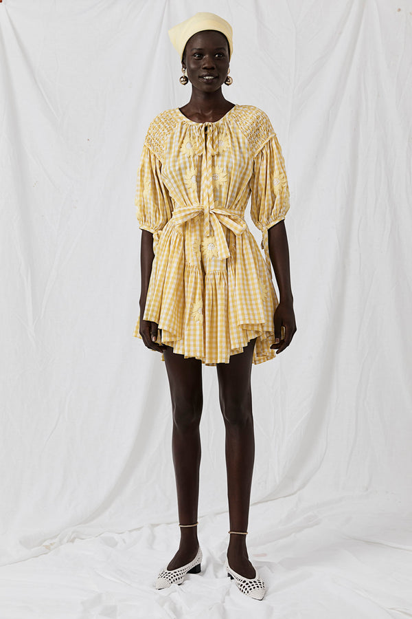 Meg Nettick Lemon Gingham Frill Mini Smock