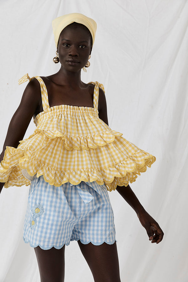Two Tier Top or Skirt - Stella Hotte Lemon Gingham