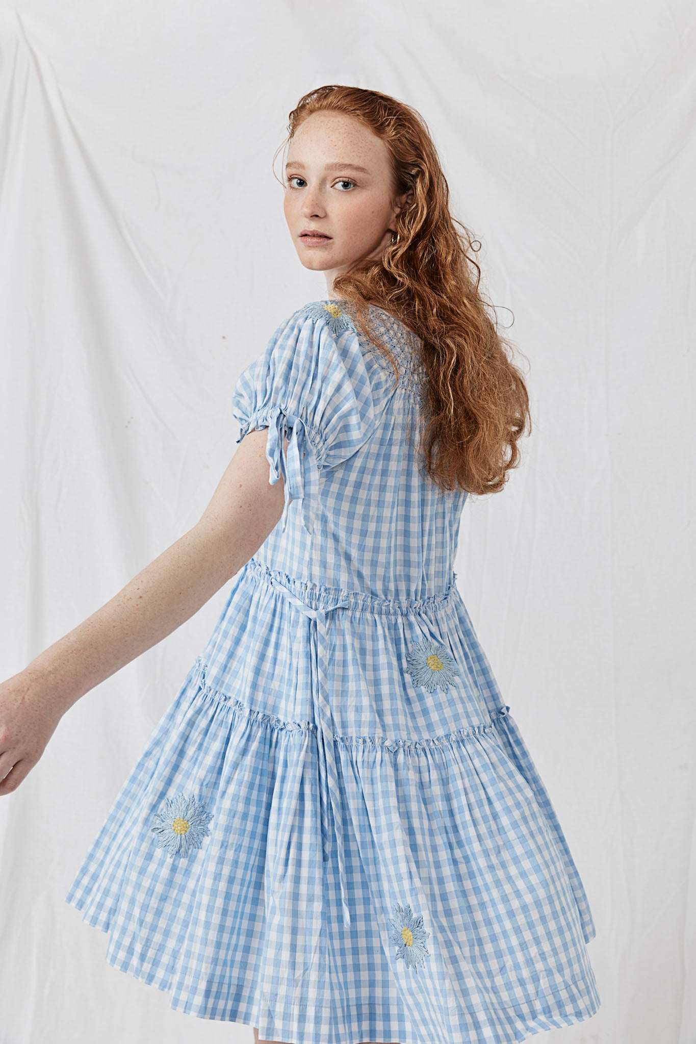 Hand Smocked Collar Dress - Bre Danbutta Dusk Cotton Gingham