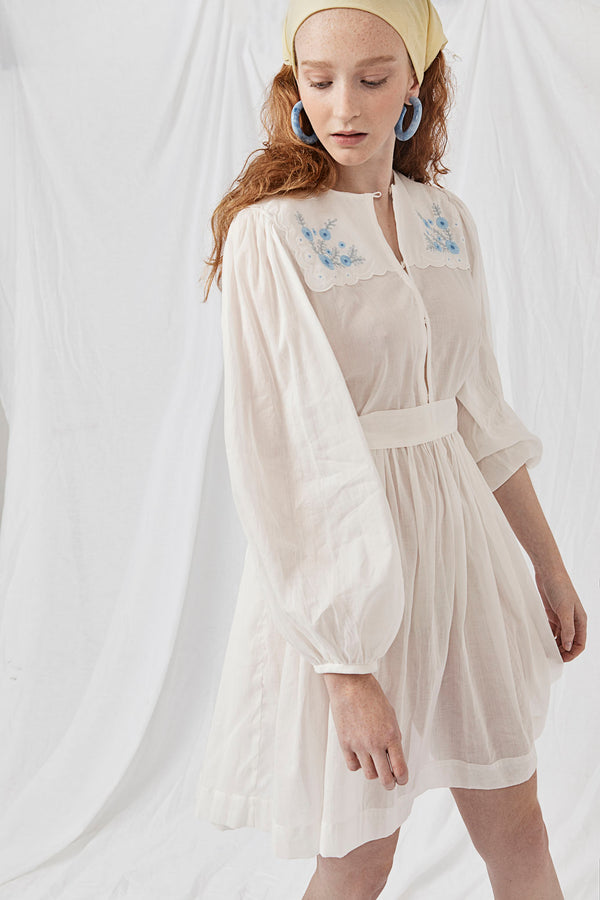Applique Embroidered Ramie Dress - Don B. Baad Milk
