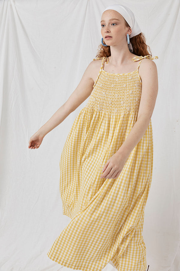 Hand Smocked Strappy Maxi - Hilla Raeos Lemon Gingham
