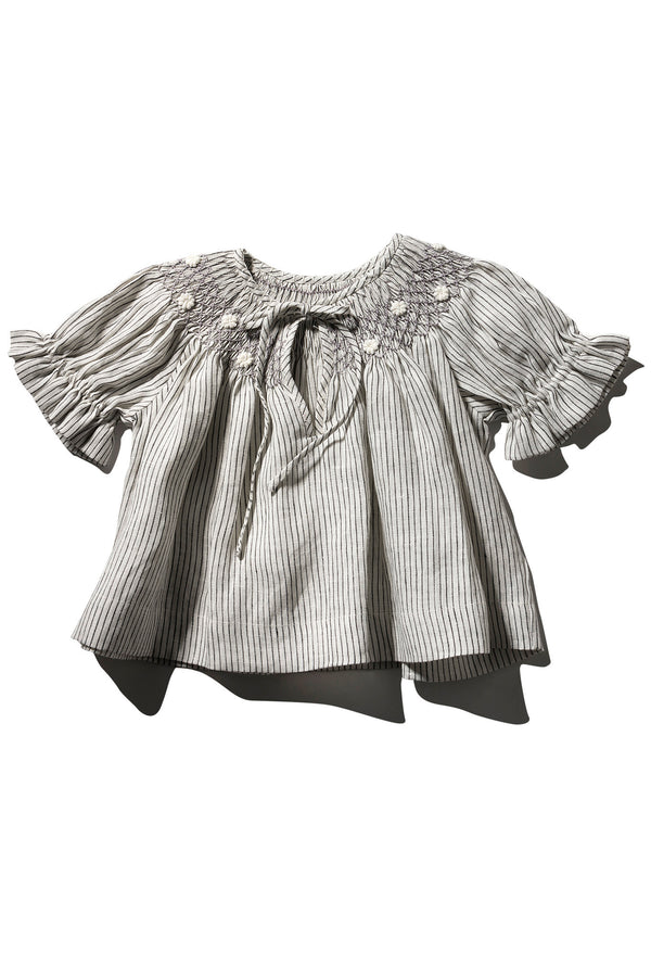 Girls Linen Hand Smocked Top - Farrah Weydrims Little Stripe