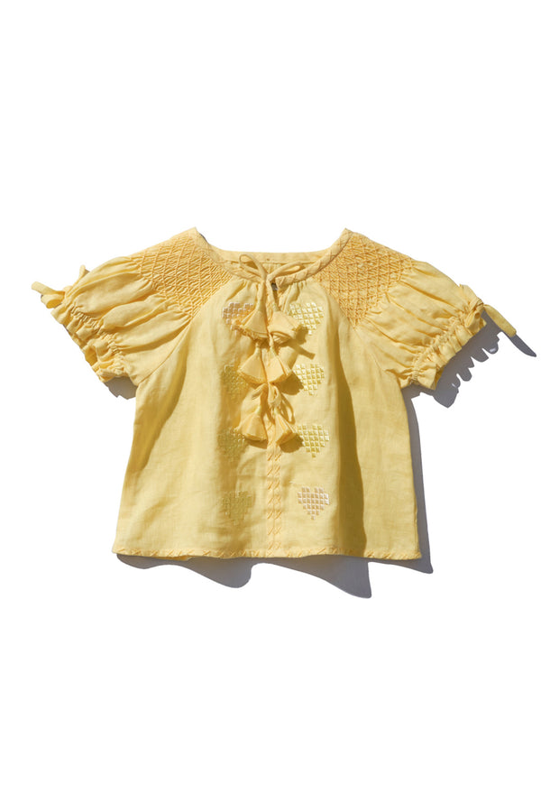 Girls Smock Top - Oliver Daily in Lemon Digi Heart