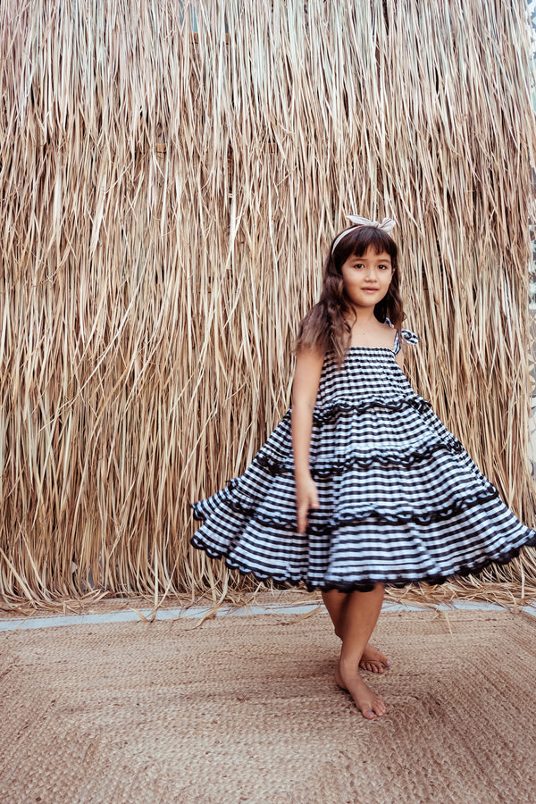Girls Gingham Scalloped Tiered Midi - Iva Biigdres Black Gingham