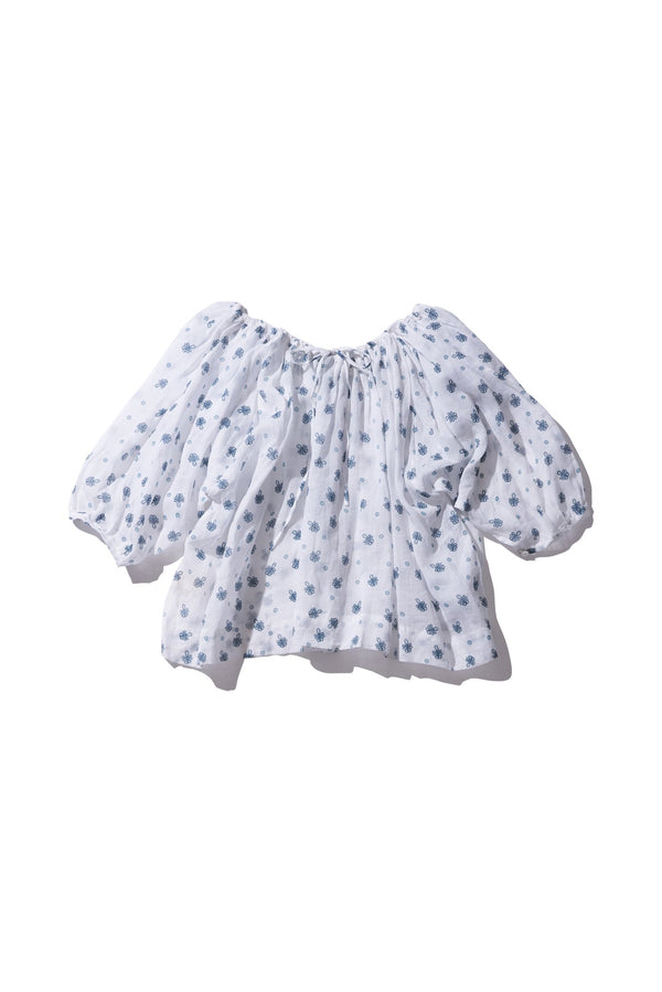 Drawstring Ramie Top - Norma Lee in Milk Print - Innika Choo