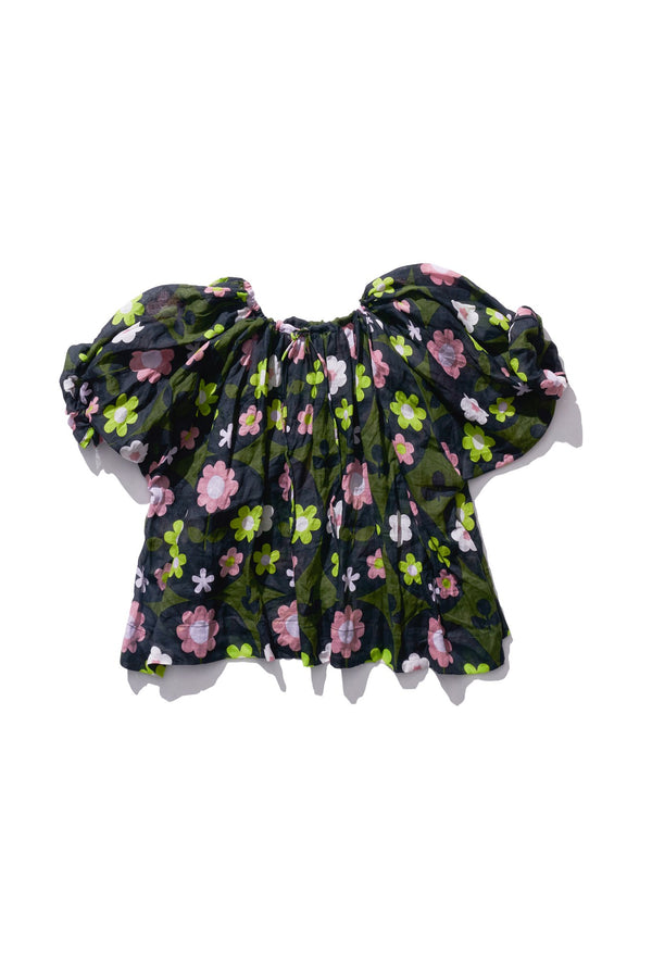 Drawstring Blouse - Norma Lee in Deep Floret