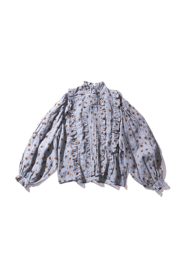 Box Pleat Ramie Blouse - Anita Nutop in String Print - Innika Choo