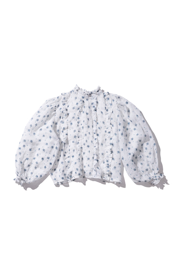 Box Pleat Ramie Blouse - Anita Nutop in Milk Print - Innika Choo