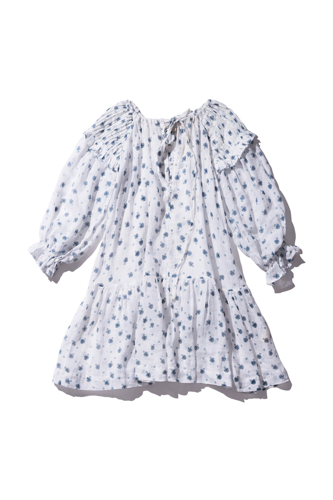 Frill Sleeve Ramie Smock Dress - Sarah Tonin in Milk Print - Innika Choo