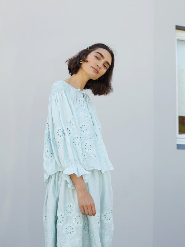 Smock Top in Sea Foam Linen - Oliver Daily PRE ORDER