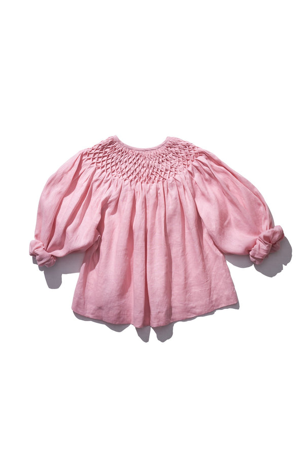Honeycomb Smock Neck Top - Hope Filthorts in Candy floss
