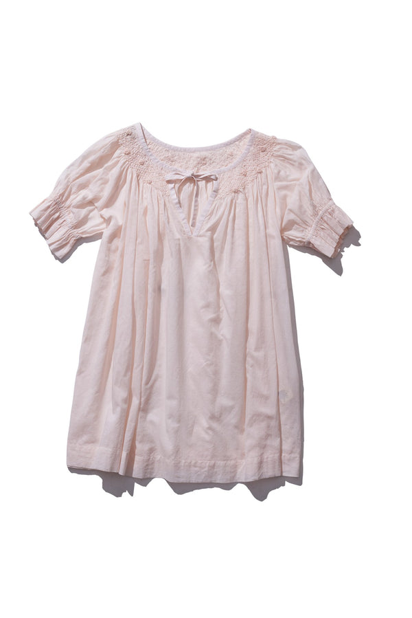 Hand Smocked Collar Blouse - Farrah Weydrims in Blush