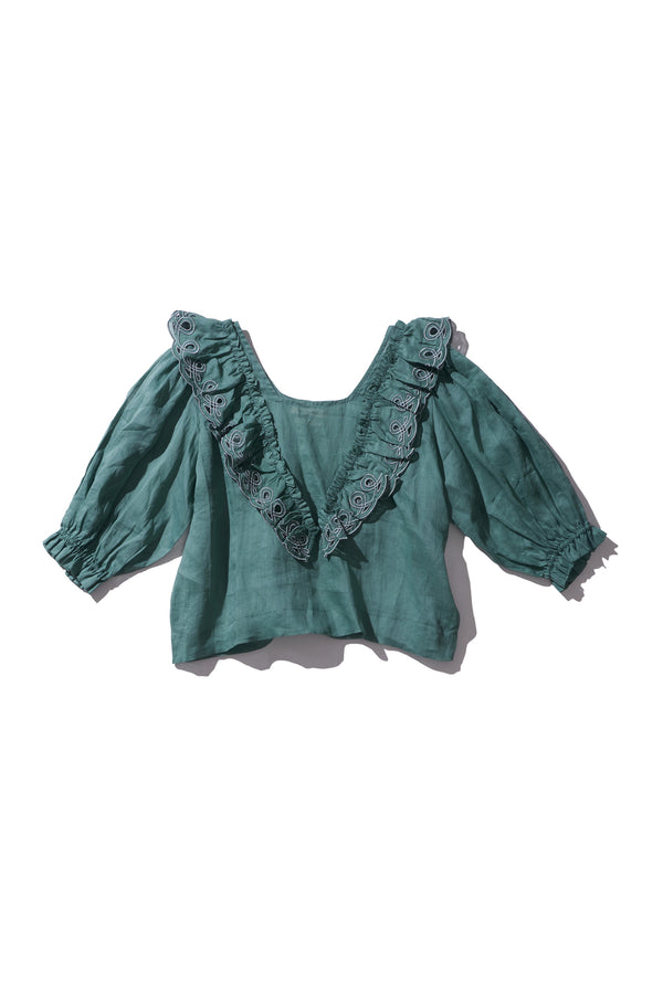 Embroidered Frill Blouse - Anita Eayte in Sage Ramie - Innika Choo