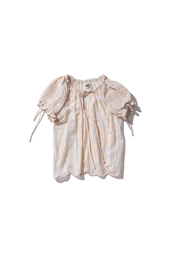 Embroidered Folk Blouse - Daly Graind in Metallic Stripe Cotton Lurex - Innika Choo