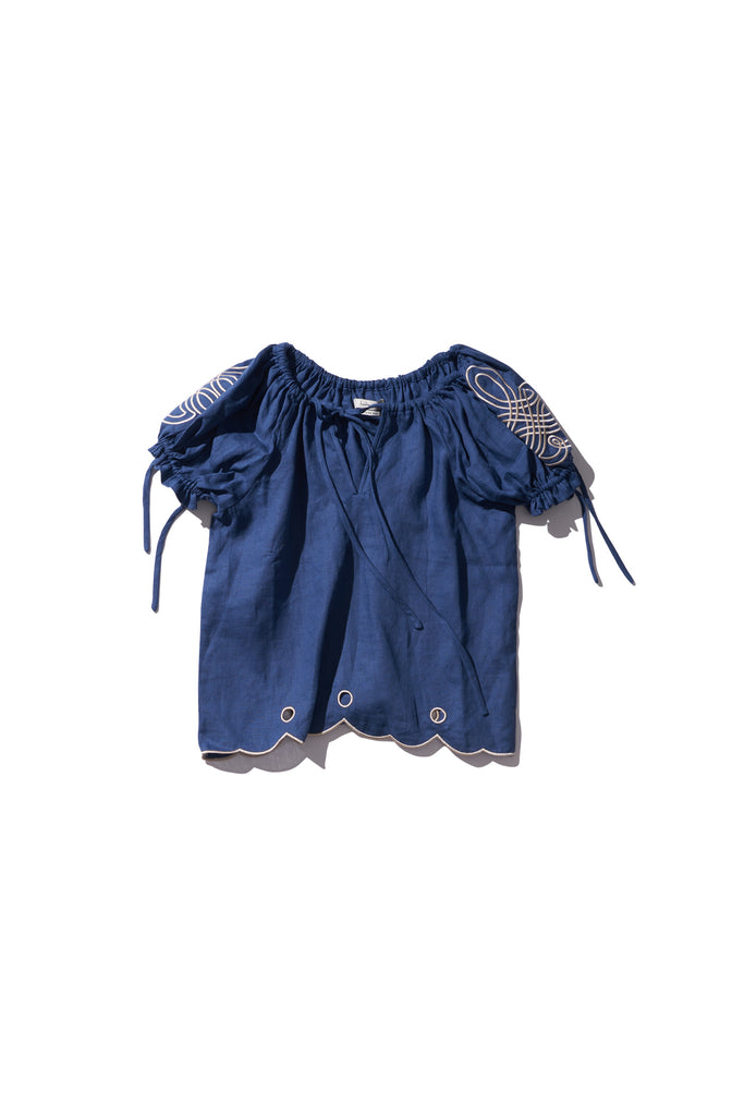 Embroidered Linen Folk Blouse - Daly Graind in Copen Blue - Innika Choo
