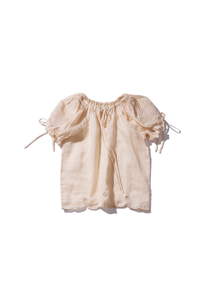 Embroidered Ramie Folk Blouse - Daly Graind in Irish Cream - Innika Choo