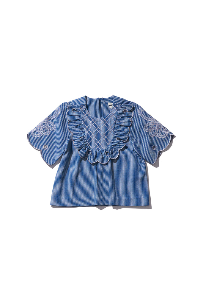 Yoke Blouse - Betty Wiltex in Copen Stripe Jean - Innika Choo