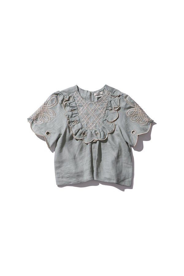 Yoke Blouse - Betty Wiltex in Light Moss Linen - Innika Choo