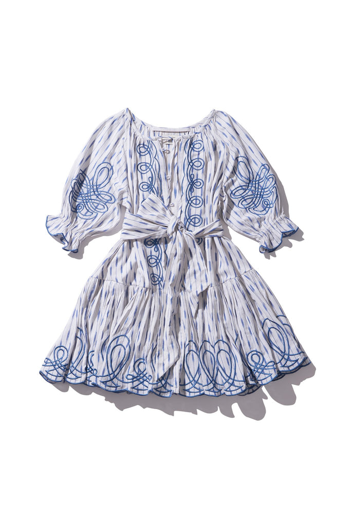 Mini Frill Smock Dress - Justine Taiym in COPEN IKAT - Innika Choo