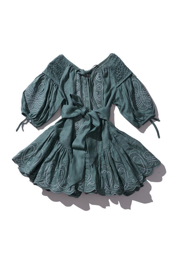 Mini Frill Smock Dress - Meg Nettick in Sage - Innika Choo