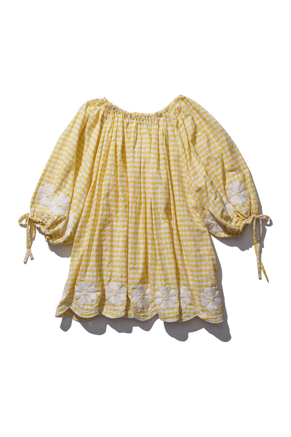 Pocket Smock Mini  - Frida Burrds in Honeycomb check