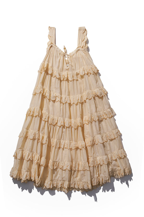 Scallop Frill Dress - Iva Biigdres in Panna