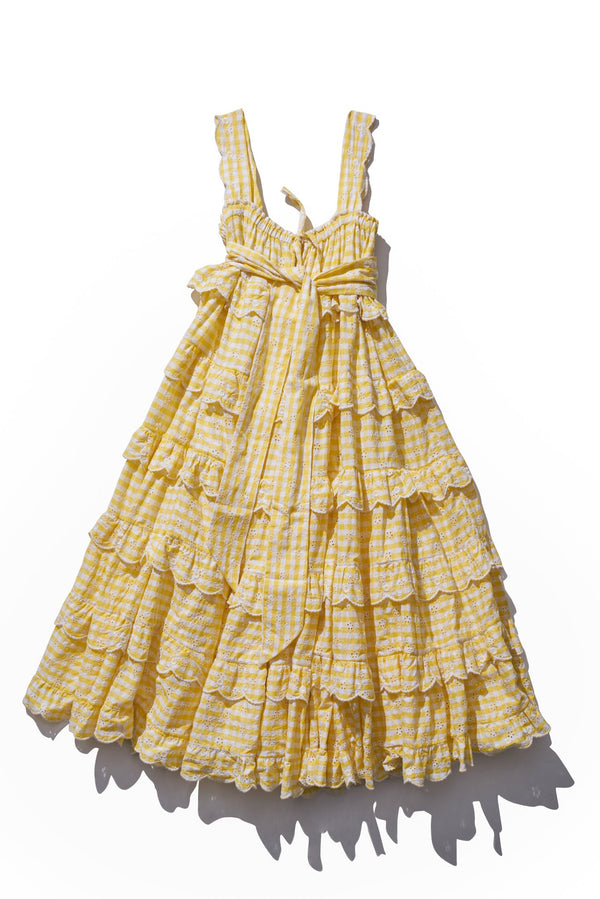Scallop Frill Dress- Iva Biigdres in Honeycomb Floret