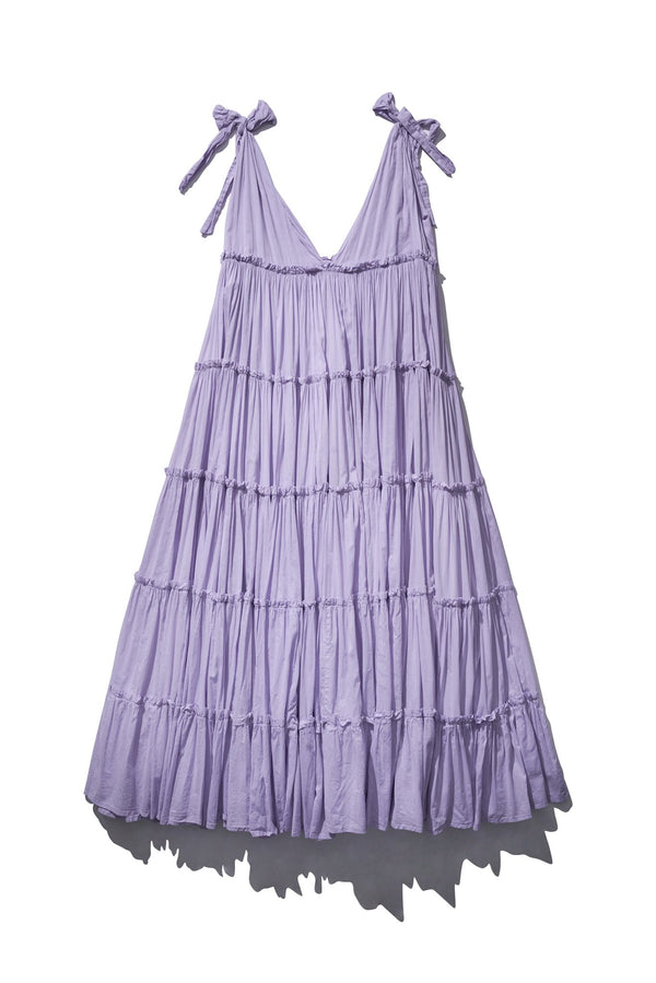 Gathered Big Frill Maxi - Rayleigh Grait in Dusty Lilac