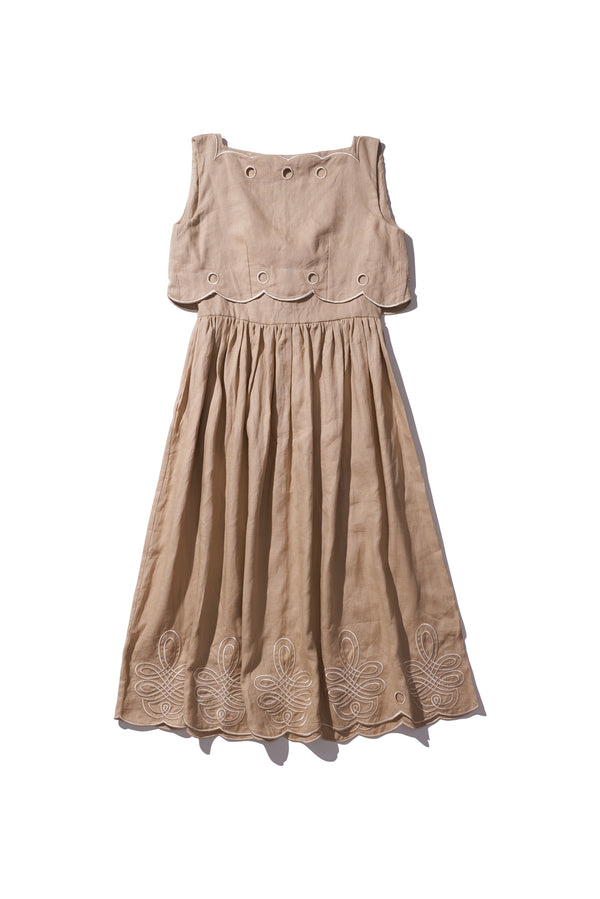 Scallop Ladylike Linen Dress - Fonda Laif in Cream Tan - Innika Choo