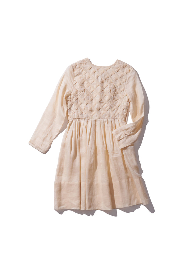 Lattice Ramie Dress - Ima Lerait in Irish Cream - Innika Choo