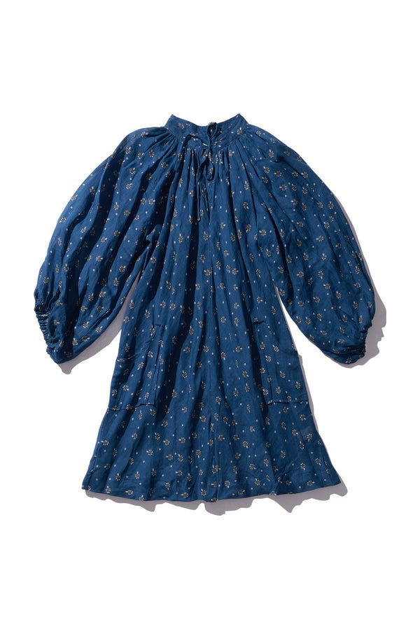Simple Mini Ramie Smock Dress - Bess Mayte in Copen Print - Innika Choo