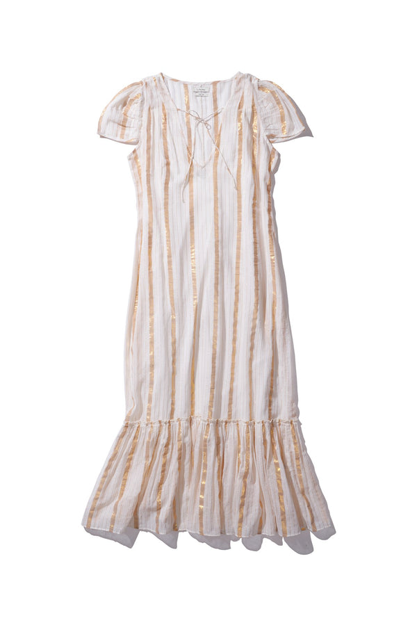 Sheer Lurex Maxi Dress with Slip - Delle Ichus in GOLD STRIPE - Innika Choo