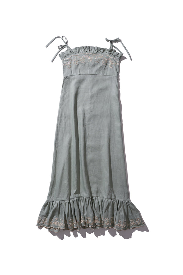Embroidered Maxi Dress - Fery Gudneus in Light Moss - Innika Choo