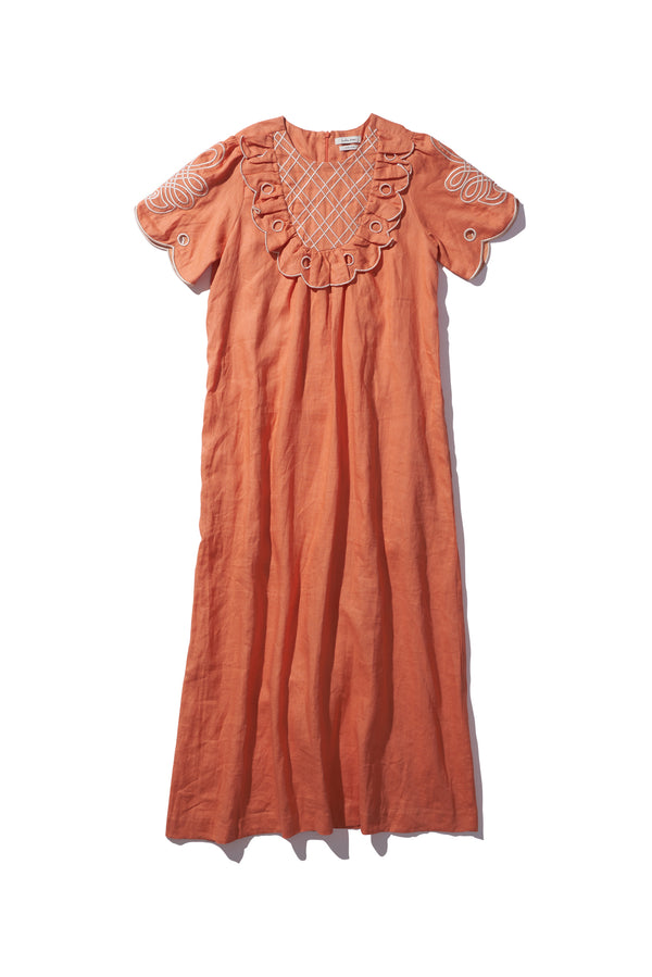 Yoke Linen Maxi - Betty Diddin in Cinnamon - Innika Choo