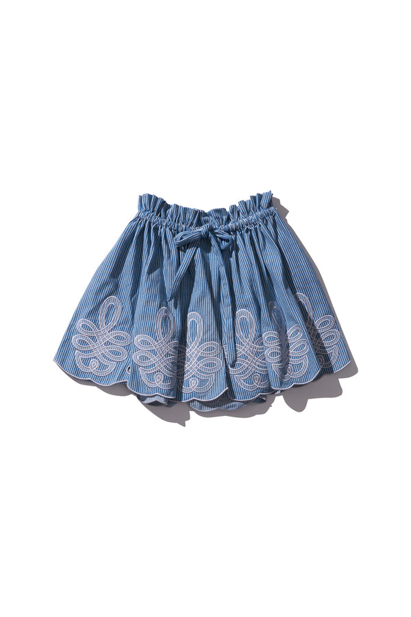 Mini Skirt - Min Easkurt in Copen Stripe Jean - Innika Choo