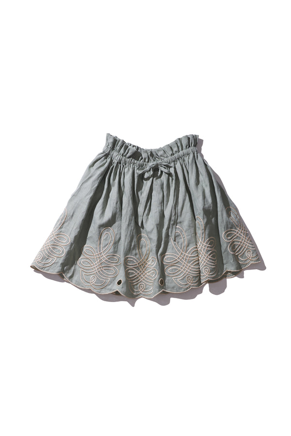 Linen Mini Skirt Light Moss - Min Easkurt - Innika Choo