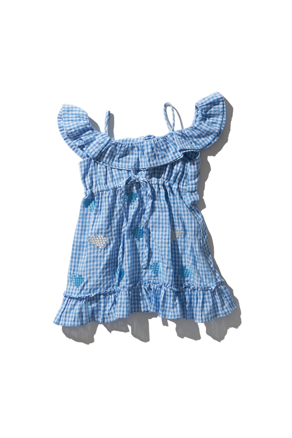 Girls Frill Dress - Noah Deeiah in Dusk Gingham Digi Heart