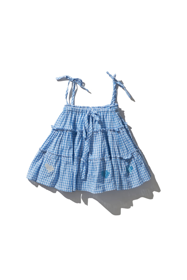 Girls Mini Skirt - Min Easkurt in Dusk Gingham Digi Heart