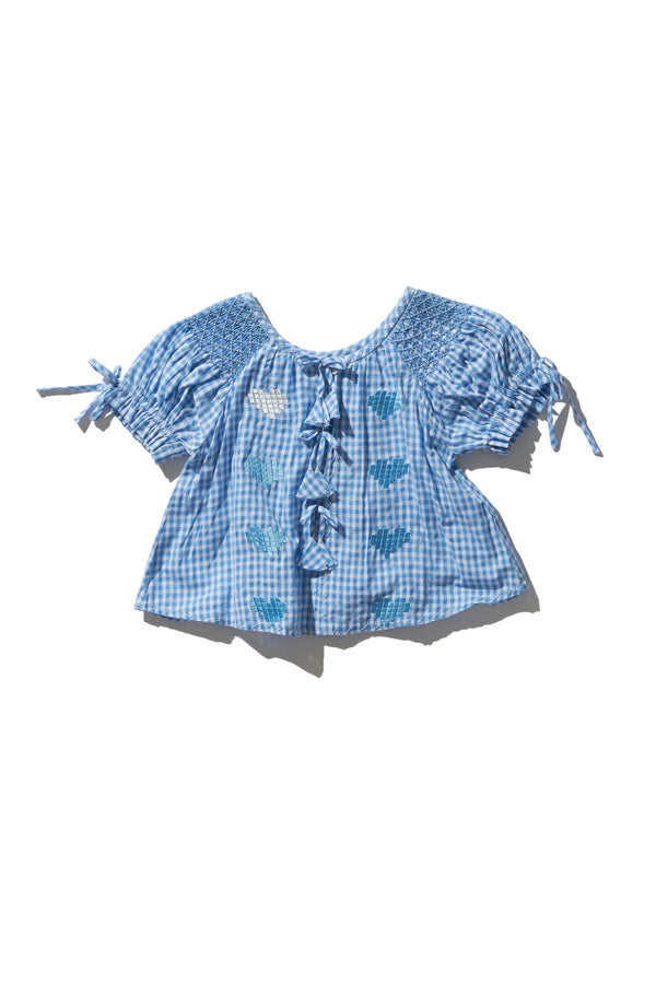 Oliver Daily Kids Dusk Gingham Heart Smock Top