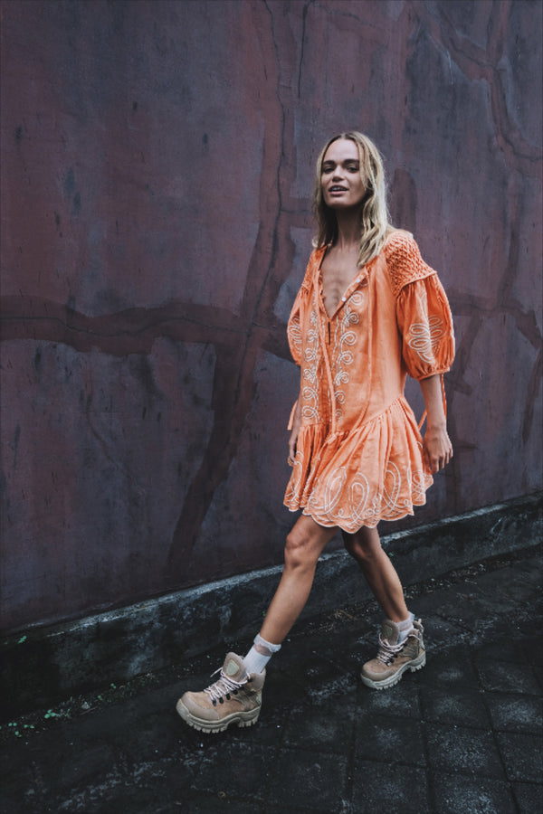 Mini Frill Linen Smock Dress - Meg Nettick in Cinnamon - Innika Choo