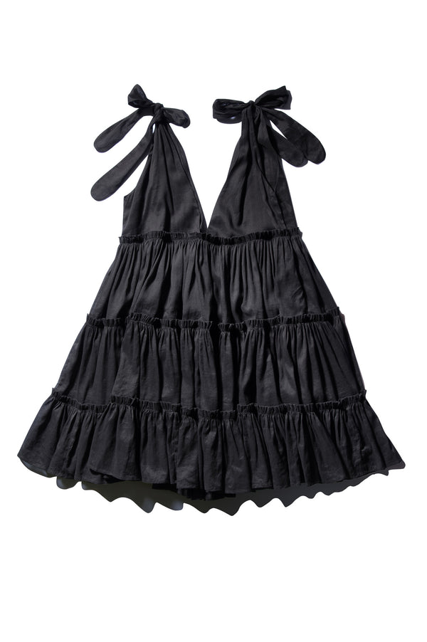 Ramie Big Frill Dress - Ché Pas Noir FINAL SALE