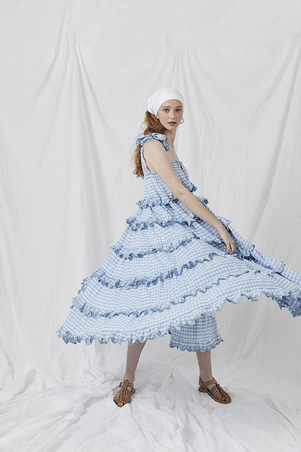 Scallop Frill Dress - Iva Biigdres Dusk Gingham