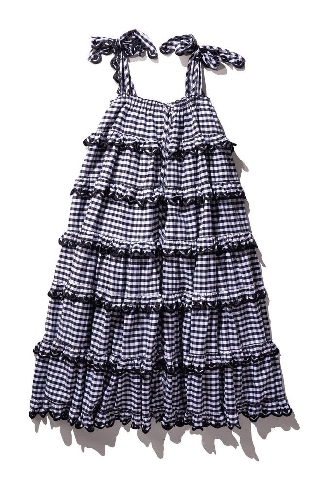 Scallop Frill Dress - Iva Biigdres Black Gingham - PRE-ORDER - Innika Choo
