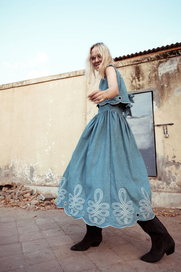 Scallop Ladylike Dress - Fonda Laif in Copen Stripe jean - Innika Choo